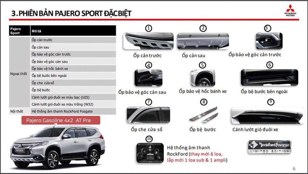 Các trang bị mới có trong Pajero Sport phiên bản đặc biệt
