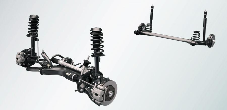 Hệ thống treo đảm bảo khả năng điều khiển xe và tiện nghi vượt trội khi đi xe. Hệ thống này giảm độ xóc và giảm chấn, va đập khi đi đường gập ghềnh.