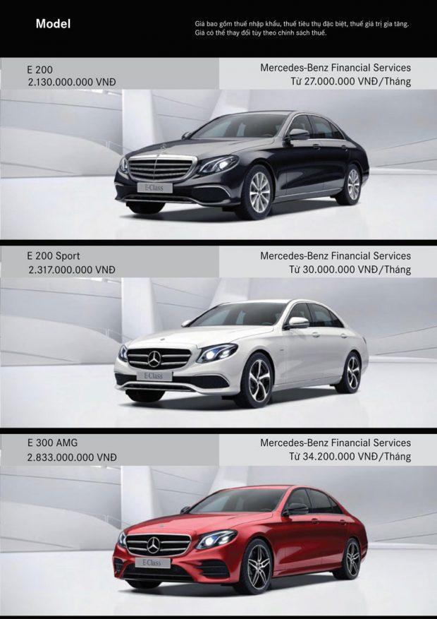 Bảng giá xe Mercedes E Class