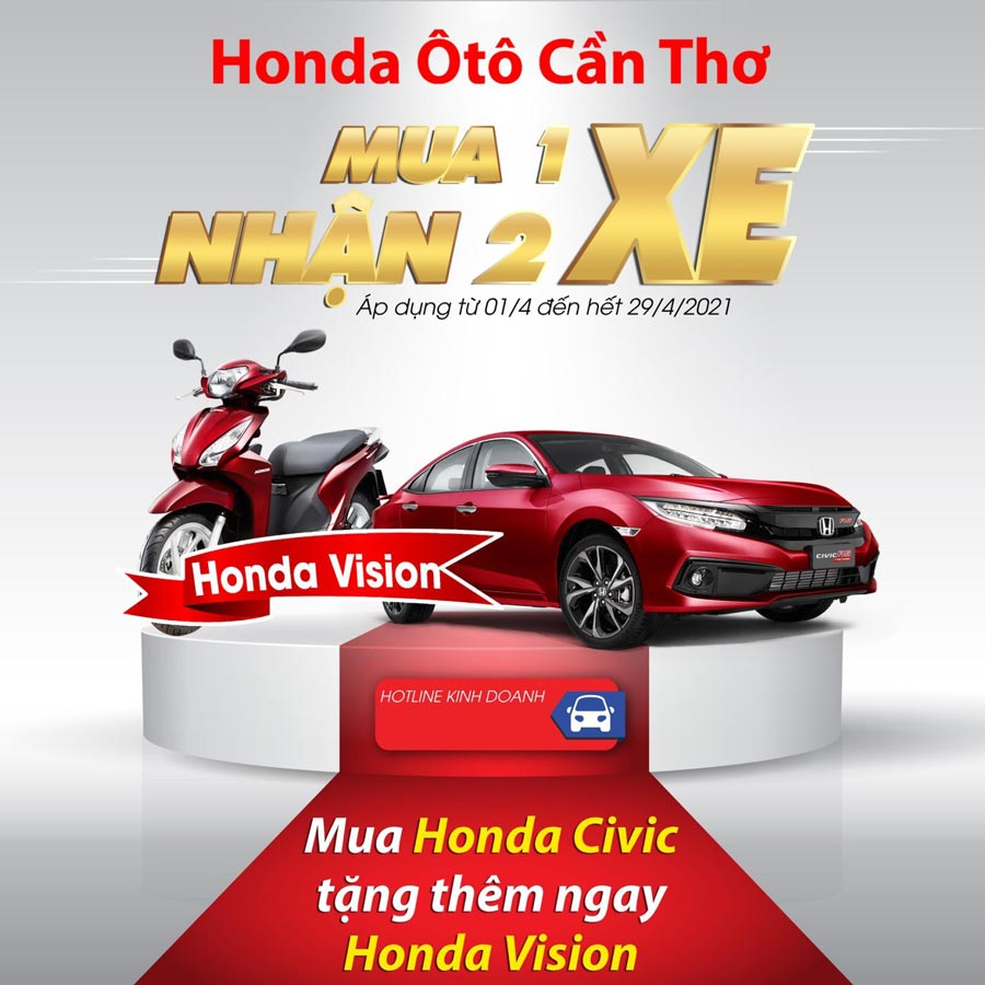 Khuyến mãi khi mua Honda Civic - Tặng Honda Vison