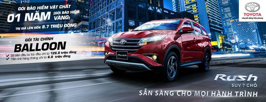 Toyota Rush: tặng gói bảo hiểm vật chất 01 năm (gói bảo hiểm vàng)