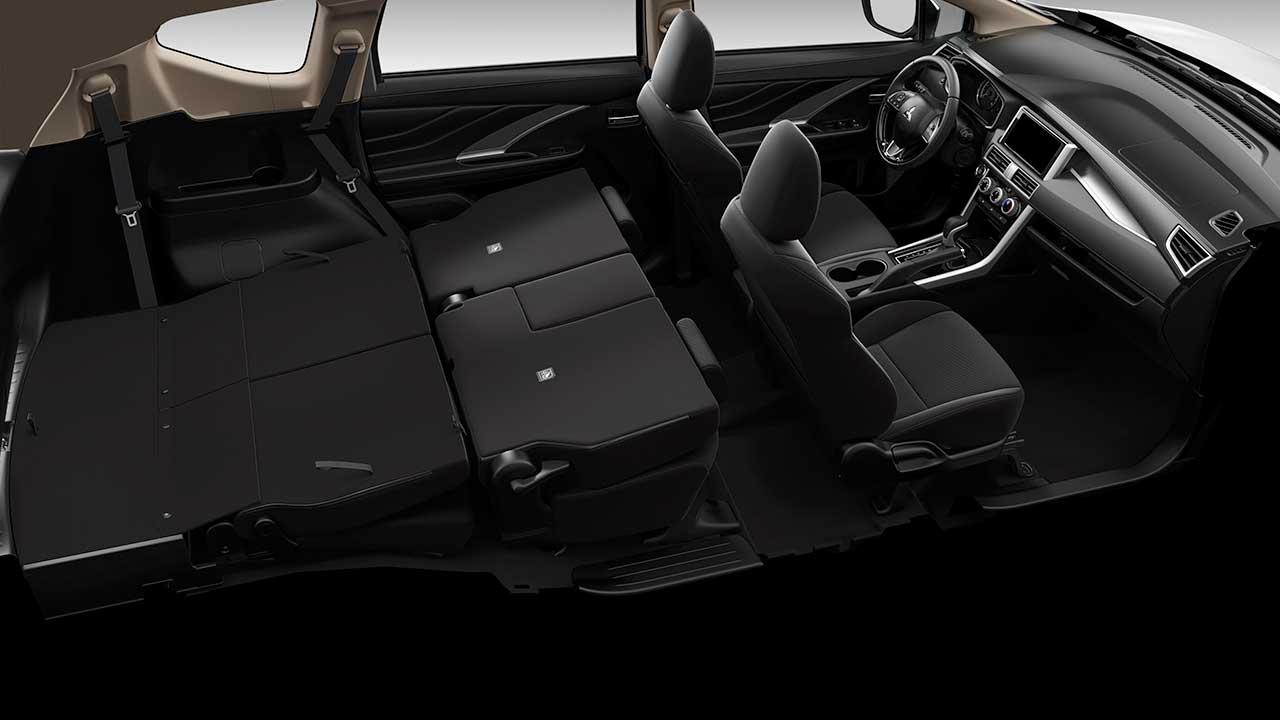 2 hàng ghế sau của Xpander có khả năng gập phẳng xuống sàn, mang lại không gian chở hàng rộng rãi và tiện ích