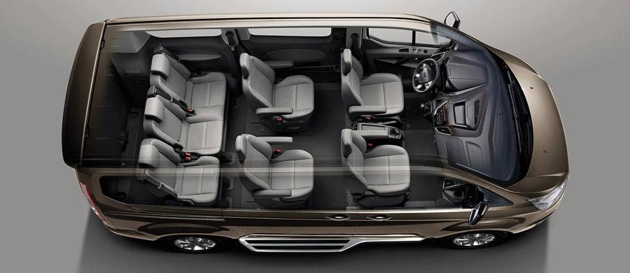 Bố trí không gian nội thất của Ford Tourneo